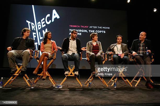 Andrew Luno writer Rula Jebreal director Namir Abdel Messeeh filmmaker Sameh Zoabi and moderator Glenn Kenny attend Tribeca Talks After The Movie...