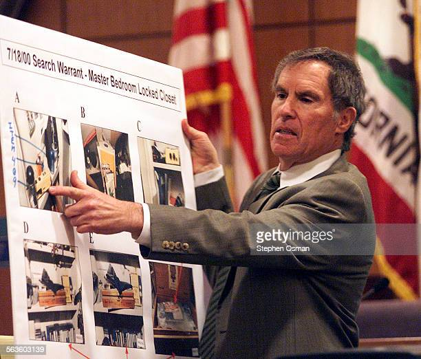 Andrew Luster's attorney Roger Diamond points to an exhibit while making closing arguments to the jury in the rape trial against Luster in Ventura...