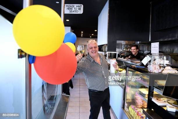 Andrew Lyon with a chardonnay and a yiros at his restaurant Platos Philosophers Kitchen on King William Road on September 27 2017 in Adelaide...