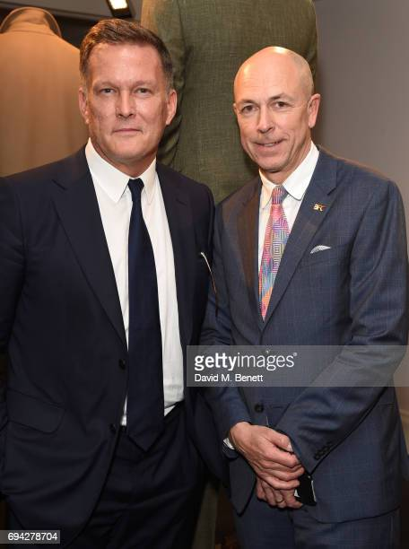 Andrew Maag CEO Dunhill and Dylan Jones attend the dunhill London presentation during the London Fashion Week Men's June 2017 collections on June 9...