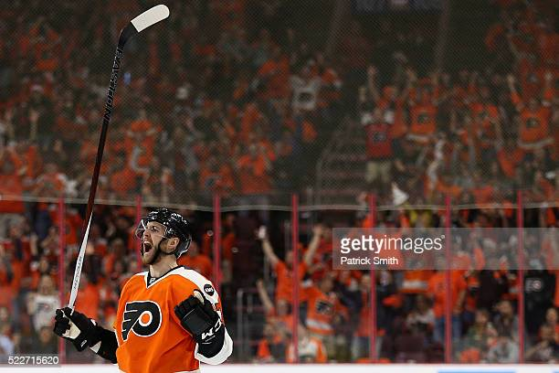 Andrew MacDonald of the Philadelphia Flyers celebrates after scoring against the Washington Capitals during the second period in Game Four of the...