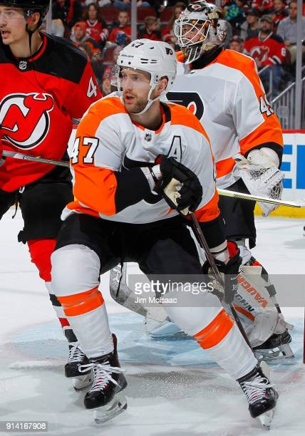 Andrew MacDonald of the Philadelphia Flyers in action against the New Jersey Devils on February 1 2018 at Prudential Center in Newark New Jersey The...