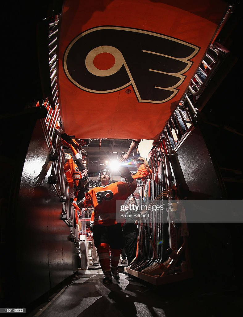 Andrew MacDonald #47 of the Philadelphia Flyers leaves the ice following warmups prior to the game against the New York Rangers in Game Three of the First Round of the 2014 NHL Stanley Cup Playoffs at the Wells Fargo Center on April 22, 2014 in Philadelphia, Pennsylvania.