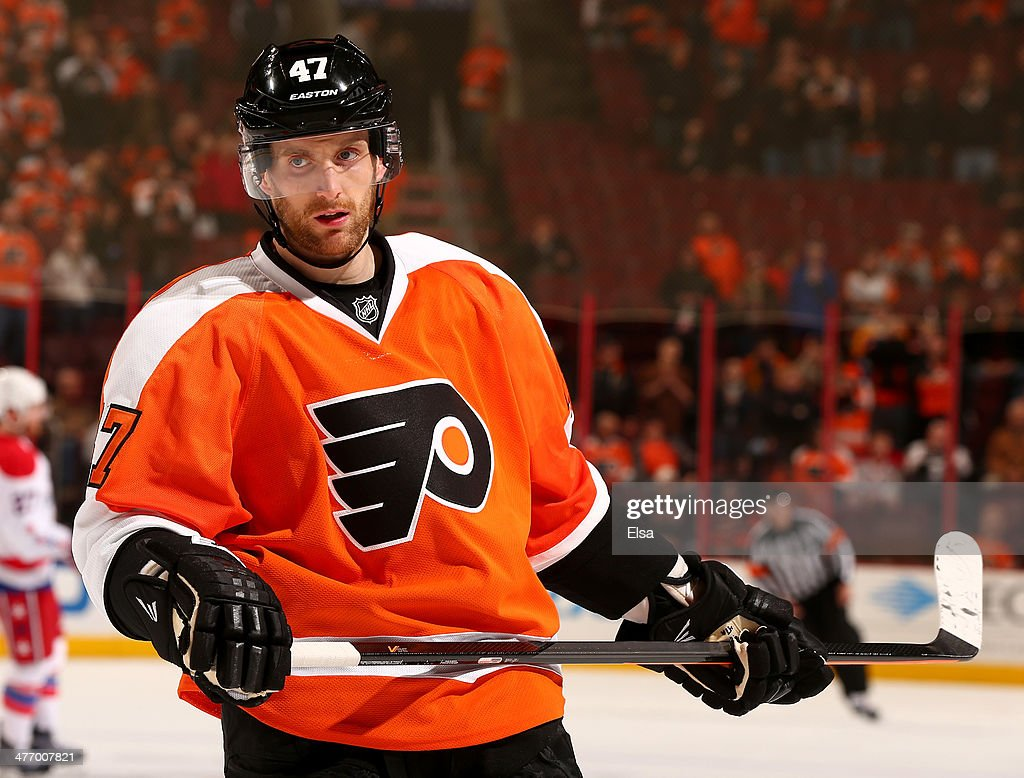 Andrew MacDonald #47 of the Philadelphia Flyers looks on after the game against the Washington Capitals at Wells Fargo Center on March 5, 2014 in Philadelphia, Pennsylvania.The Philadelphia Flyers defeated the Washington Capitals 6-4.