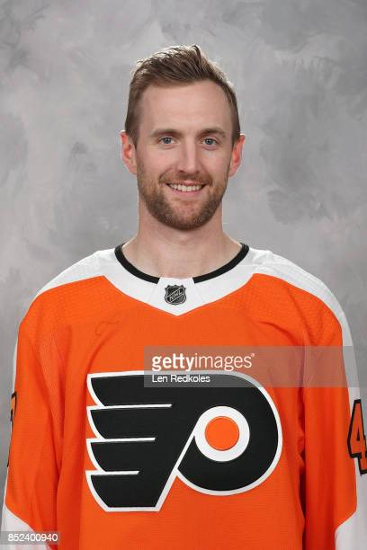 Andrew MacDonald of the Philadelphia Flyers poses for his official headshot for the 20172018 season on September 14 2017 at the Virtua Flyers Skate...