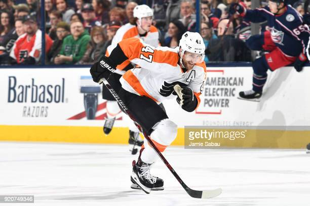 Andrew MacDonald of the Philadelphia Flyers skates against the Columbus Blue Jackets on February 16 2018 at Nationwide Arena in Columbus Ohio