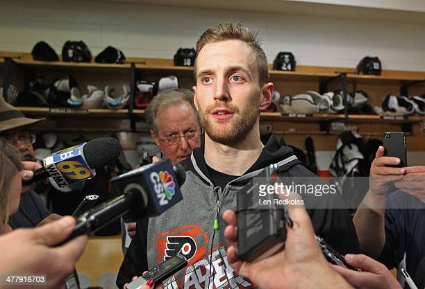 Andrew MacDonald of the Philadelphia Flyers speaks to the media after playing his first game with the team against the Washington Capitals on March 5...