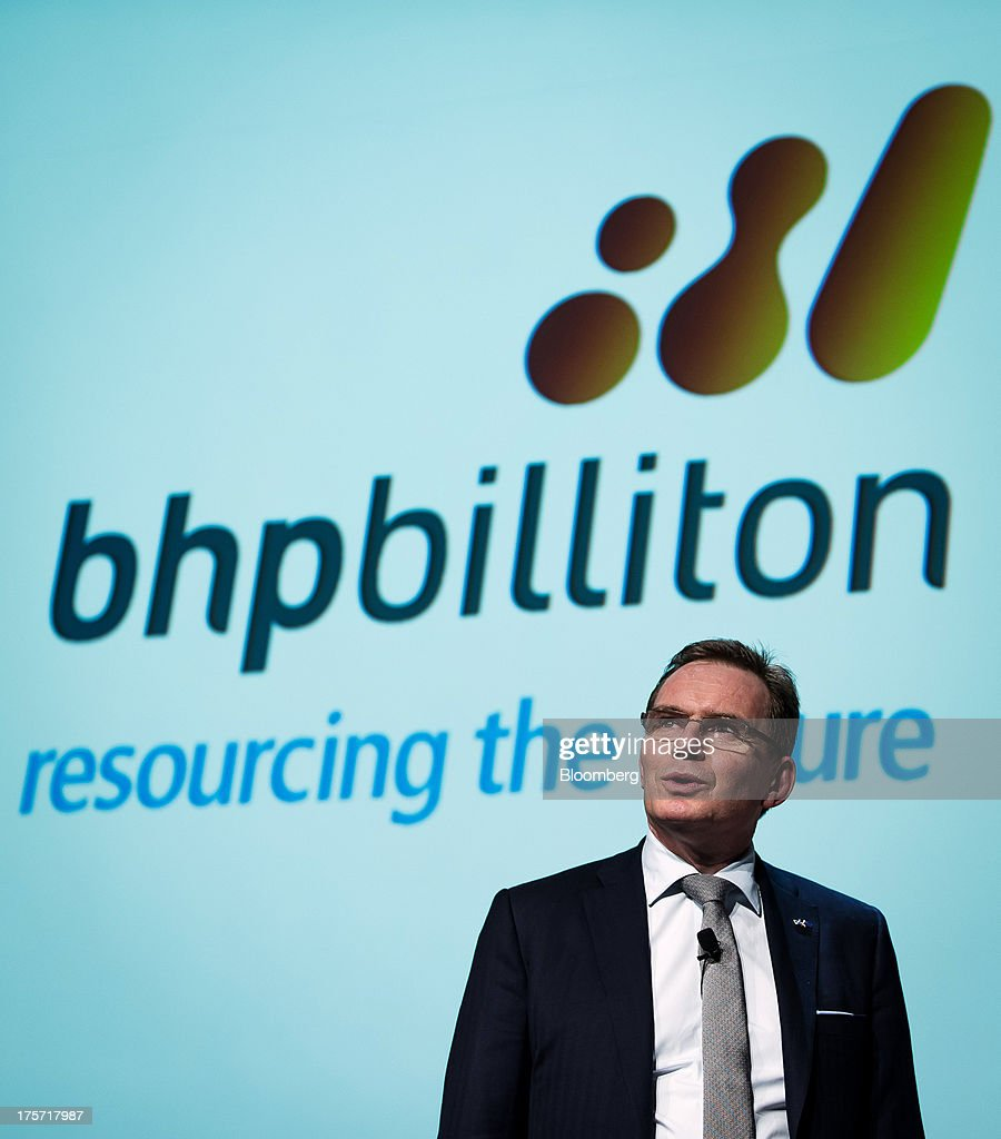 Andrew Mackenzie, chief executive officer of BHP Billiton Ltd., speaks at an event hosted by the Asia Society in Melbourne, Australia, on Wednesday, Aug. 7, 2013. BHP, the worlds biggest mining company, signaled it will expand in the shale oil and gas industry in the U.S., forecasting global commodity demand will jump 75 percent over the next 15 years. Photographer: Ian Waldie/Bloomberg via Getty Images