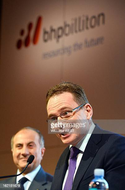 Andrew Mackenzie speaks as it is announced he will be replacing Marius Kloppers as BHP Billiton CEO while company chairman Jac Nasser listens in...
