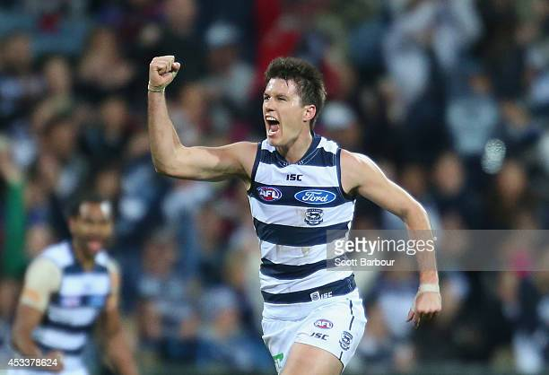 Andrew Mackie of the Cats celebrates after kicking a goal during the round 20 AFL match between the Geelong Cats and the Fremantle Dockers at Skilled...