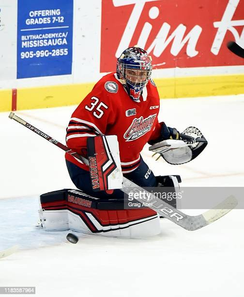 Andrew MacLean of the Oshawa Generals skates against the Mississauga Steelheads during game action on October 25 2019 at Paramount Fine Foods Centre...
