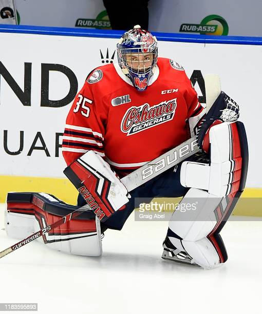Andrew MacLean of the Oshawa Generals skates in warmup prior to a game against the Mississauga Steelheads on October 25, 2019 at Paramount Fine Foods...