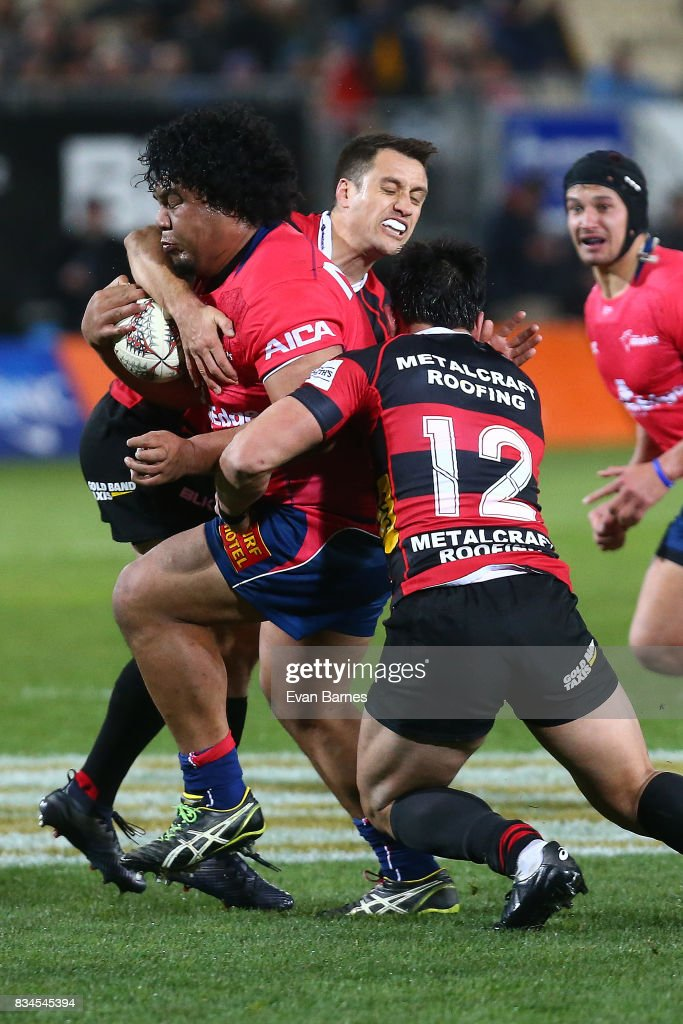 Andrew Makalio of Tasman is tackled during the Mitre 10 Cup round one match between Tasman and Canterbury at Trafalgar Park on August 18, 2017 in Nelson, New Zealand.