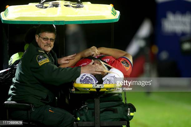 Andrew Makalio of Tasman is taken from the field injured during the round 5 Mitre 10 Cup match between Counties Manukau and Tasman on September 06,...