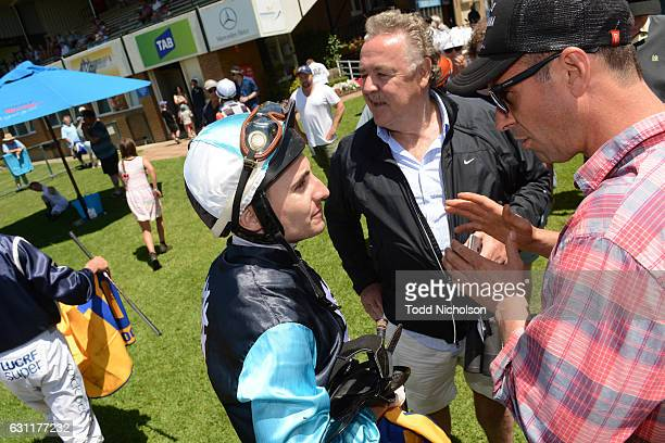 Andrew Mallyon talks to Symon Wilde after winning Gillear Lime Sandstone Quarries Maiden Plate at Warrnambool Racecourse on January 08 2017 in...