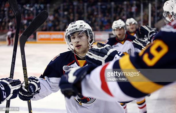 Andrew Mangiapane of the Barrie Colts celebrates his goal during an OHL game against the Niagara IceDogs at the Meridian Centre on March 19, 2015 in...