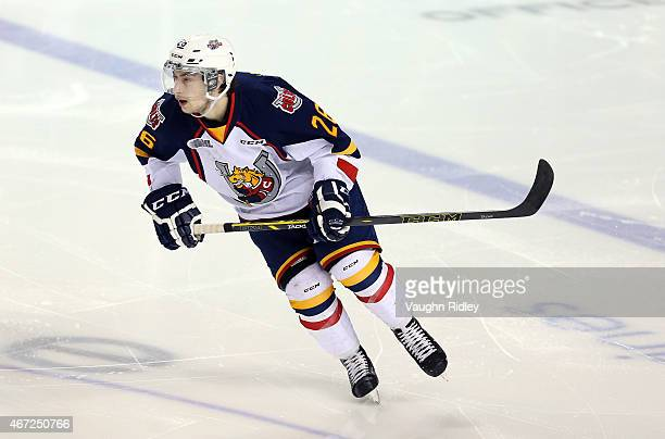 Andrew Mangiapane of the Barrie Colts skates during an OHL game at the Meridian Centre against the Niagara IceDogs on March 19, 2015 in St...