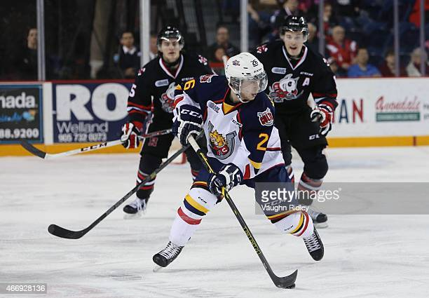 Andrew Mangiapane of the Barrie Colts skates with the puck during an OHL game against the Niagara IceDogs at the Meridian Centre on March 19, 2015 in...