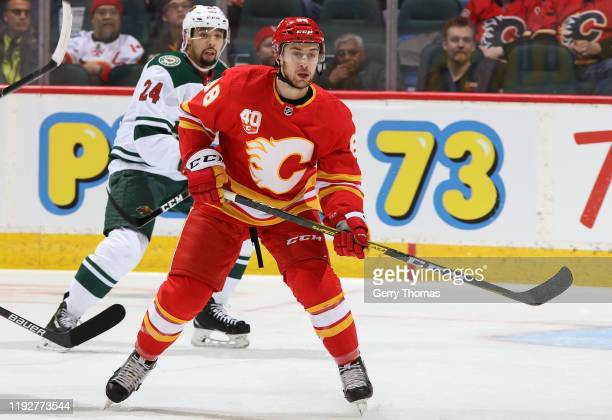 Andrew Mangiapane of the Calgary Flames awaits a pass against the Minnesota Wild at Scotiabank Saddledome on January 9 2020 in Calgary Alberta Canada
