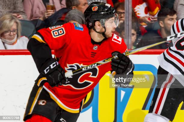 Andrew Mangiapane of the Calgary Flames debuts in an NHL game on December 31 2017 at the Scotiabank Saddledome in Calgary Alberta Canada