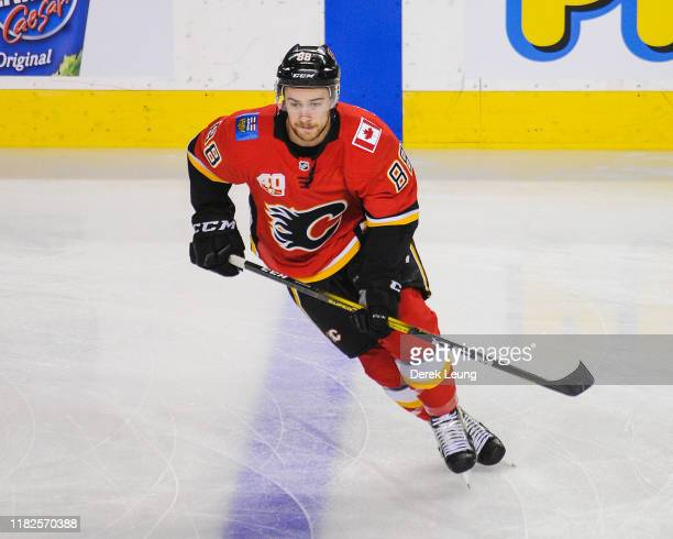 Andrew Mangiapane of the Calgary Flames in action against the Philadelphia Flyers during an NHL game at Scotiabank Saddledome on October 15 2019 in...