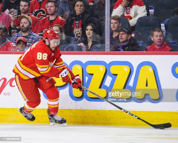 Andrew Mangiapane of the Calgary Flames in action against the New York Rangers during an NHL game at Scotiabank Saddledome on March 15, 2019 in...
