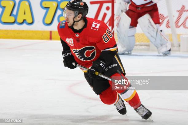 Andrew Mangiapane of the Calgary Flames plays against the Carolina Hurricanes at Scotiabank Saddledome on December 14 2019 in Calgary Canada