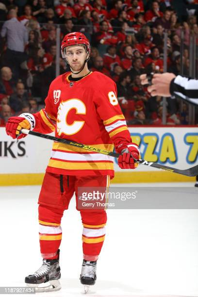 Andrew Mangiapane of the Calgary Flames plays against the St Louis Blues at Scotiabank Saddledome on November 09 2019 in Calgary Canada