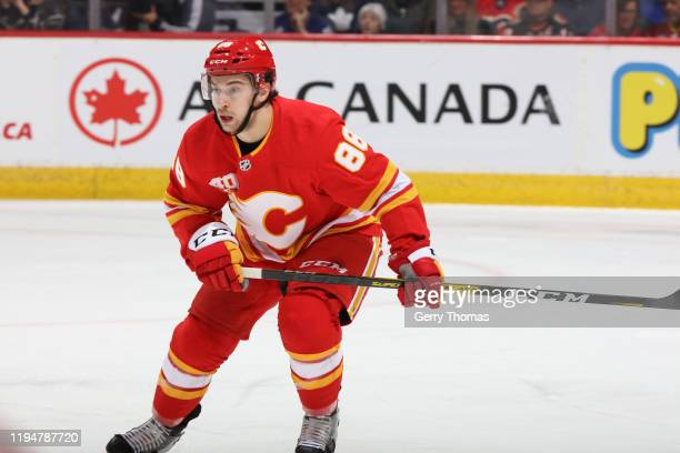 Andrew Mangiapane of the Calgary Flames plays against the Toronto Maple Leafs at Scotiabank Saddledome on December 12 2019 in Calgary Canada