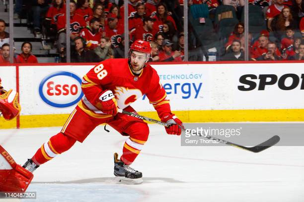 Andrew Mangiapane of the Calgary Flames skates against the Anaheim Ducks during an NHL game on March 29 2019 at the Scotiabank Saddledome in Calgary...