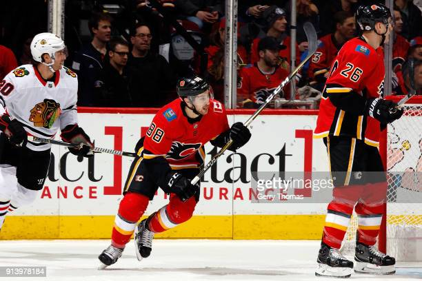 Andrew Mangiapane of the Calgary Flames skates against the Chicago Blackhawks during an NHL game on February 3 2018 at the Scotiabank Saddledome in...
