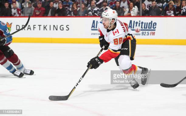 Andrew Mangiapane of the Calgary Flames skates against the Colorado Avalanche in Game Four of the Western Conference First Round during the 2019 NHL...