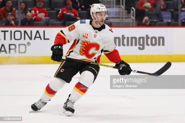 Andrew Mangiapane of the Calgary Flames skates against the Detroit Red Wings at Little Caesars Arena on February 23 2020 in Detroit Michigan
