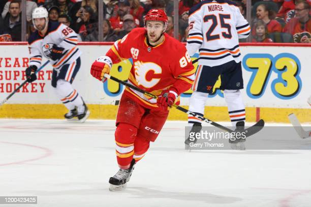 Andrew Mangiapane of the Calgary Flames skates against the Edmonton Oilers at Scotiabank Saddledome on January 11 2020 in Calgary Canada