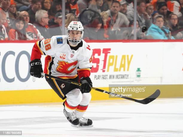 Andrew Mangiapane of the Calgary Flames skates against the Philadelphia Flyers at the Wells Fargo Center on November 23 2019 in Philadelphia...