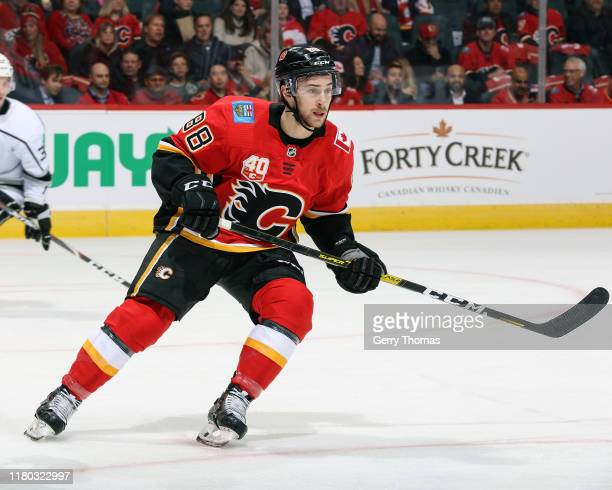 Andrew Mangiapane of the Calgary Flames skates against the Los Angeles Kings on October 8 2019 at the Scotiabank Saddledome in Calgary Alberta Canada
