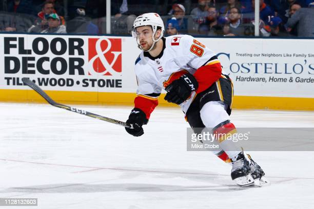 Andrew Mangiapane of the Calgary Flames skates against the New York Islanders at NYCB Live's Nassau Coliseum on February 26 2019 in Uniondale New...