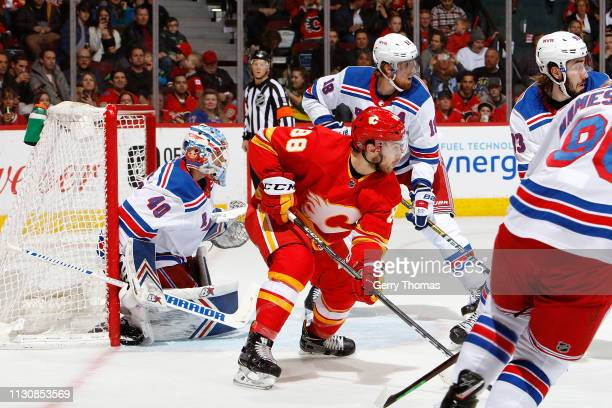 Andrew Mangiapane of the Calgary Flames skates against the New York Rangers during an NHL game on March 15, 2019 at the Scotiabank Saddledome in...
