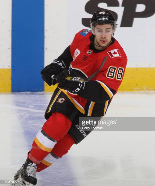 Andrew Mangiapane of the Calgary Flames skates in the game against the Los Angeles Kings at Scotiabank Saddledome on December 7, 2019 in Calgary,...