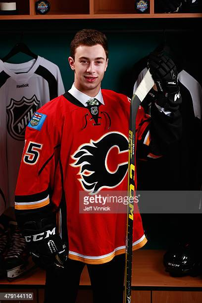 Andrew Mangiapane poses for a portrait after being selected 166th by the Calgary Flames during the 2015 NHL Draft at BBT Center on June 27 2015 in...