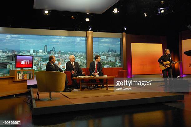 Andrew Marr and guests watch Billy Bragg perform on the Andrew Marr Show 20th April 2008