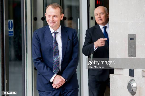 Andrew Marr and Iain Duncan Smith leave BBC Broadcasting House after The Andrew Marr Show on July 21st 2019 in London England