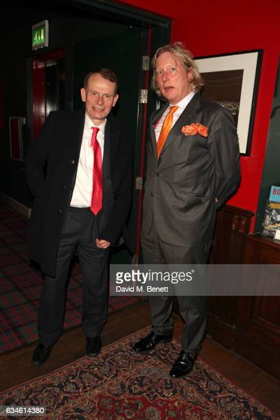 Andrew Marr and Ranald MacDonald attend as Boisdale's Woman of the Year honours Whoopi Goldberg at Boisdale of Canary Wharf on February 10 2017 in...
