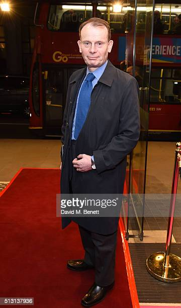 Andrew Marr arrives for Gala Performance of The Maids at the Trafalgar Studios on February 29 2016 in London England
