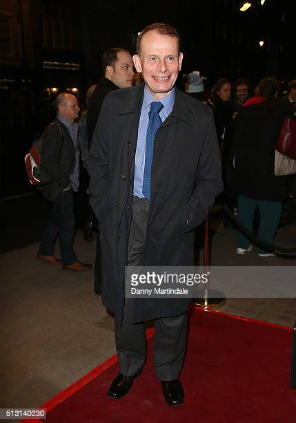 Andrew Marr arrives for Gala performance of 'The Maids' at Trafalgar Studios on February 29 2016 in London England