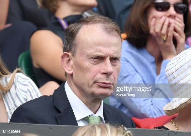 Andrew Marr attends day ten of the Wimbledon Tennis Championships at the All England Lawn Tennis and Croquet Club on July 13 2017 in London United...