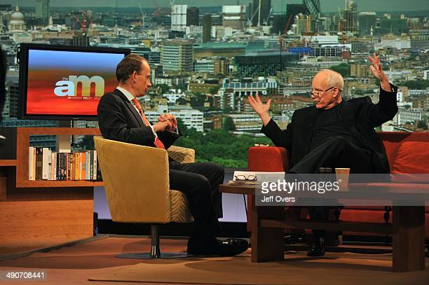 Andrew Marr being 'interviewed' by American actor Richard Dreyfuss on set of The Andrew Marr Show after the show to make a video sequence for Joe...
