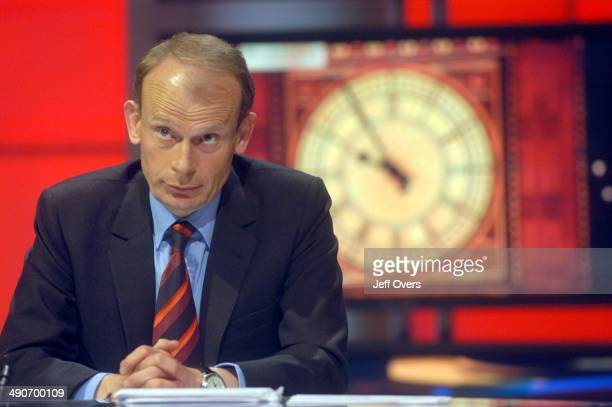 Andrew Marr in during rehearsals in the BBC Election 2005 studio