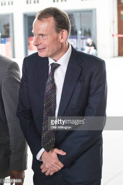 Andrew Marr leave BBC Broadcasting House after The Andrew Marr Show on July 21st 2019 in London England