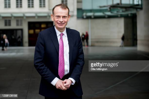 Andrew Marr leaves after presenting his BBC Political Sunday Morning Show 'The Andrew Marr Show at BBC Broadcasting House on February 23 2020 in...
